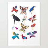 Birds and Butterflies  Art Print