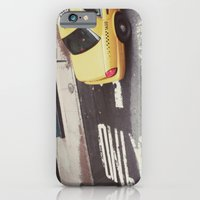 iPhone & iPod Case featuring one way taxi:: nyc by Alison Holcomb
