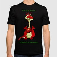 The Welsh Outside Half Factory Dragons Mens Fitted Tee Black SMALL