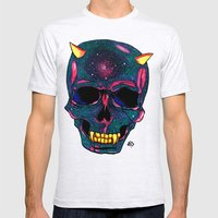 Space SKULL Mens Fitted Tee Ash Grey SMALL