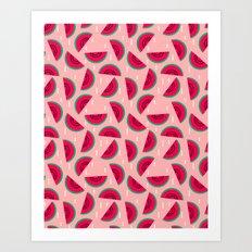 watermelon print pattern summer fresh mint cool fruit fashion spring trendy minimal print design Art Print