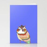 Owl, owl art, owl illustration, owl print,  Stationery Cards