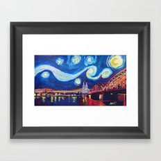 Starry Night in Cologne - Van Gogh Inspirations on River Rhine and Cathedral Framed Art Print