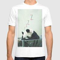 Sleepy Panda Mens Fitted Tee White SMALL
