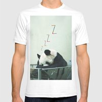 Sleepy Panda Mens Fitted Tee White SMALL