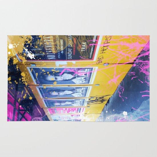 purple and yellow _  little burke graffiti Area & Throw Rug