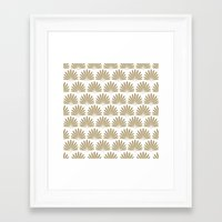White & Tan Daisies Framed Art Print