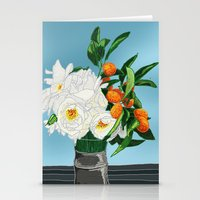 White Roses & Tangerines Stationery Cards