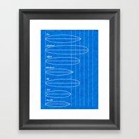 Surfboard shapes blueprint Framed Art Print