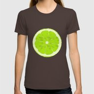 Lime Womens Fitted Tee Brown LARGE
