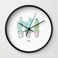Cacti / Cactus Illustrations Wall Clock