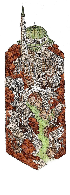 Mostar: Autumn Art Print