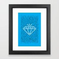 diamond cyan Framed Art Print