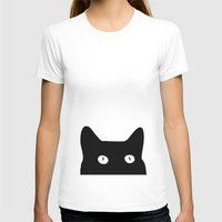 white T-shirts featuring Black Cat by Good Sense