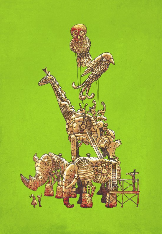 The Clockwork Menagerie (Lime) Art Print