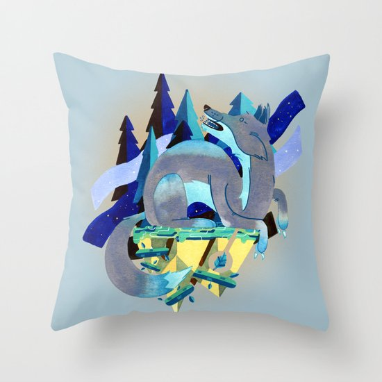 Silver Fox Throw Pillow
