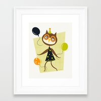 Owlivia and her belligerent balloons  Framed Art Print