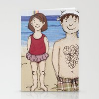 Embroidered Father And D… Stationery Cards