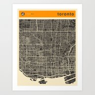 Art Print featuring TORONTO MAP by Jazzberry Blue