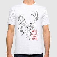 Wildlife is Your Friend Mens Fitted Tee Ash Grey SMALL
