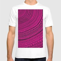 Hot Pink Pulse O4. Mens Fitted Tee White SMALL