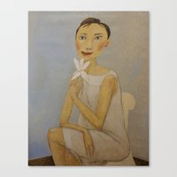 LADY WITH MAGNOLIA Canvas Print