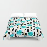 Palm Trees and Dots Duvet Cover