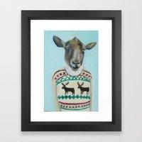 Sheep Wearing Deer Sweater  Framed Art Print