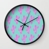 Linocut Cacti Blink Wall Clock