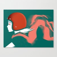 Moped Girl Canvas Print
