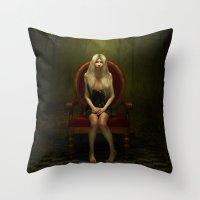 Dark wonderland Alice on a red chair Throw Pillow