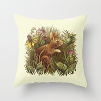 The Cottontail and the Katydid Throw Pillow