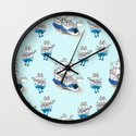 Ships Pattern Wall Clock