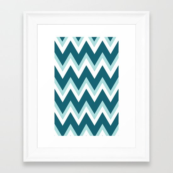 Teal Ombre` Chevron Framed Art Print