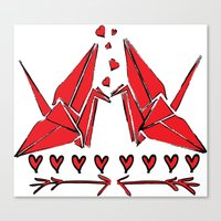 Origami Birds In Love Canvas Print