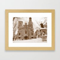 Colonial Quebec City Cathedral - Christmas Morning Framed Art Print
