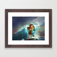 girl in the sea Framed Art Print