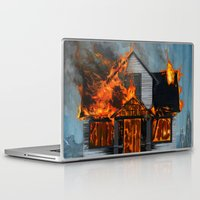 house Laptop & iPad Skins featuring House on Fire by FAMOUS WHEN DEAD