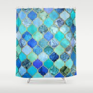 Cobalt Blue, Aqua & Gold… Shower Curtain