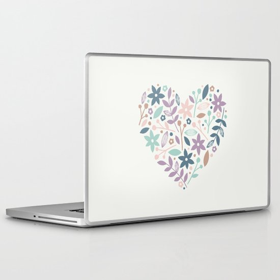 Floral Heart - in Cream Laptop & iPad Skin
