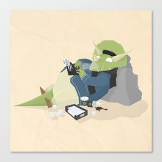 Hipster Dinosaur adds the latest chapters to his novel Canvas Print