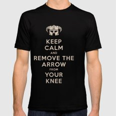 Keep Calm And Remove The Arrow From Your Knee Black Mens Fitted Tee SMALL