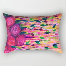 ROSES ARE RAD 2- Bold Pink Red Roses Floral Bouquet Vines, Flower Abstract Acrylic Painting Fine Art Rectangular Pillow