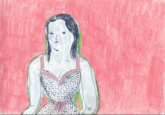 the girl is waiting Art Print