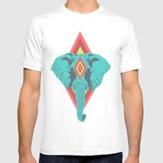 Neon Elephant Mens Fitted Tee SMALL White