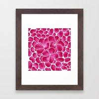 Hibiscus Flowers Animal Print RED PINK Framed Art Print