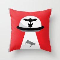Space Cows Throw Pillow