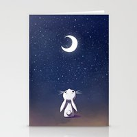 bunny Stationery Cards featuring Moon Bunny by Freeminds