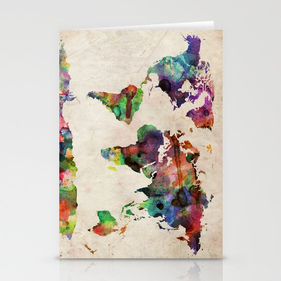 World Map Urban Watercolor Stationery Card