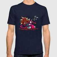 MUSIC SMASHER Mens Fitted Tee Navy SMALL